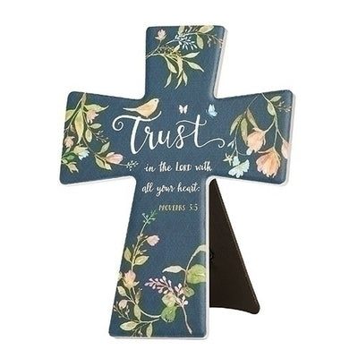 Trust in the Lord Ceramic Wall or Easel Cross 7 3/4