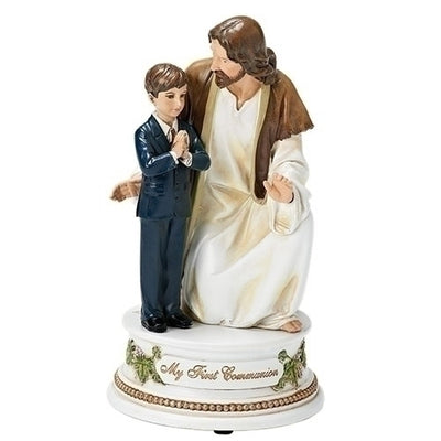 Jesus with a Boy First Communion Musical Figurine 7 1/2