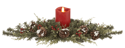 Christmas Mistletoe Table Centerpiece with LED RED Candle (24