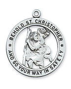 "Sterling Silver 1"" St Christopher on 24"" Chain. - Unique Catholic Gifts"