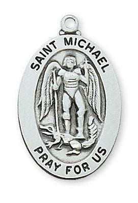 St. Michael Sterling Silver Medal (1 x 5/8