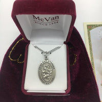 "Sterling  Silver St Christopher (1""x 5/8"") on 20 inch chain. Patron Saint of Travel. - Unique Catholic Gifts"