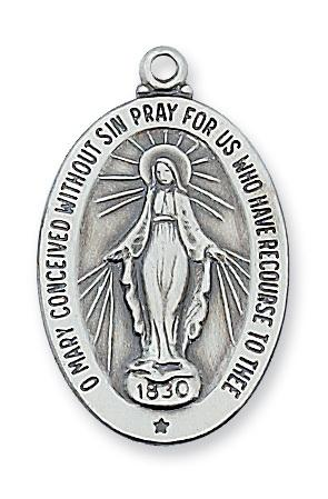 "Sterling Silver Miraculous Medal (1 5/8"") - Unique Catholic Gifts"