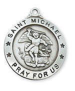 "Sterling Silver Saint Michael Medal (1"" x 7/8""), 24"" Chain"