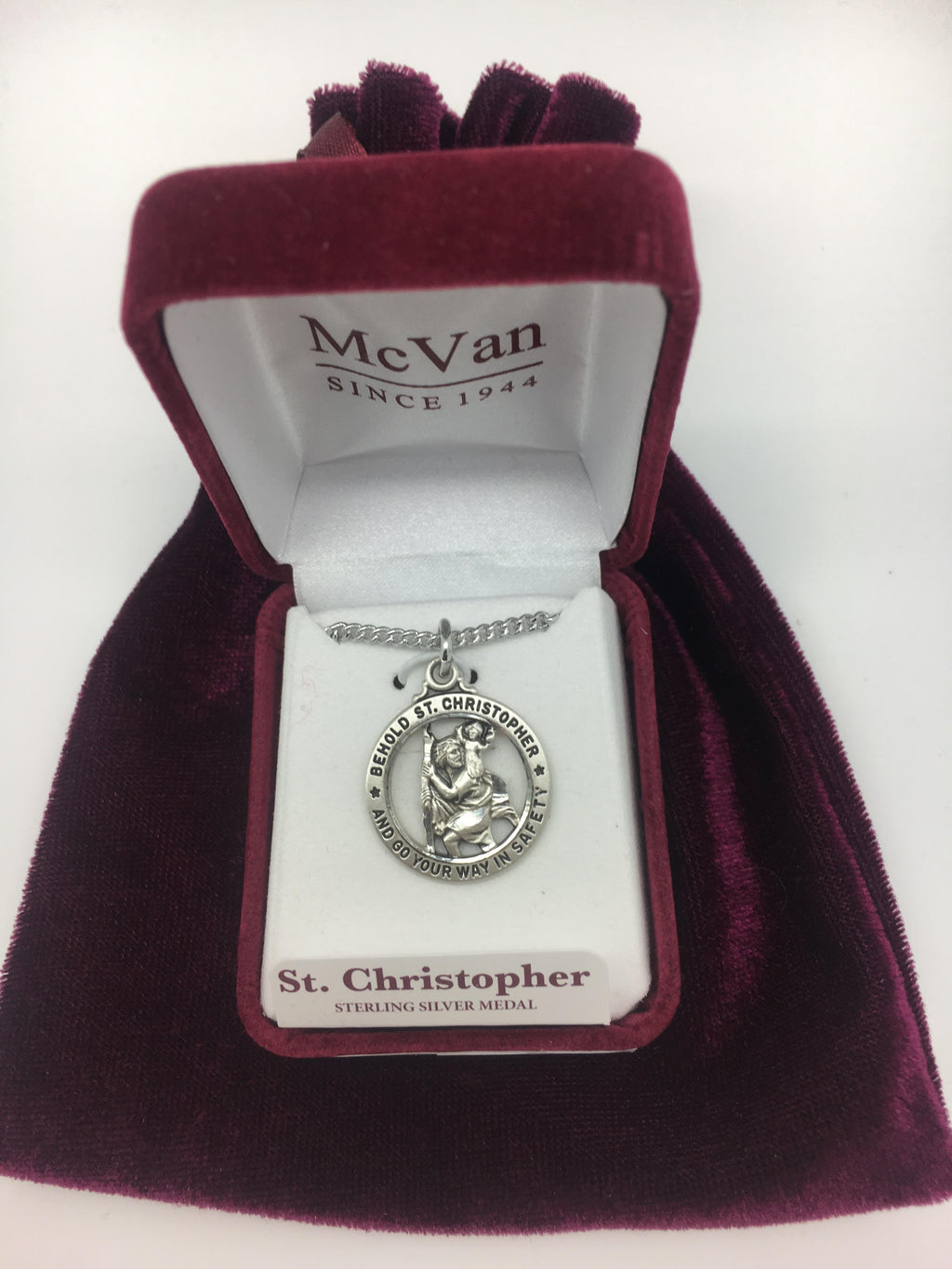 "Sterling  Silver St Christopher Medal. (15/16"") on 20 inch Chain. - Unique Catholic Gifts"
