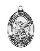 "Sterling Silver St. Michael Medal (1 1/16"") on 24"" rhodium plated chain - Unique Catholic Gifts"