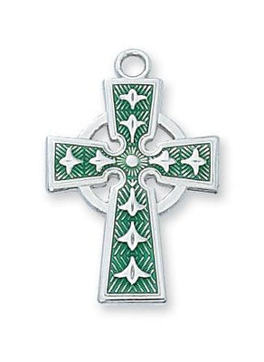 Sterling Silver with Green Celtic Crucifix  (7/8