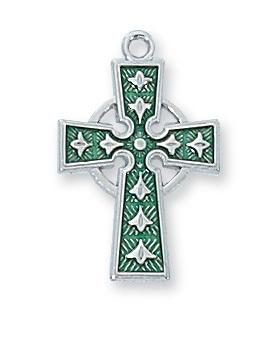 "Sterling Silver with Green Celtic Crucifix  (5/8"") on 18"" Rhodium Chain"