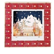 "LED Wood Advent Calendar (13 x `13"") - Unique Catholic Gifts"