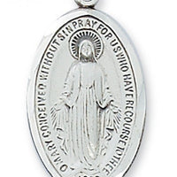 "Silver Miraculous Medal 1"", chain 18"" - Unique Catholic Gifts"