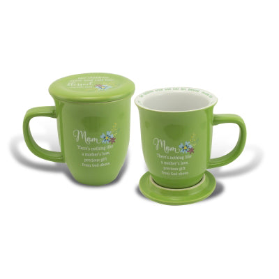 Mom Green Floral Mug & Coaster Set - Unique Catholic Gifts