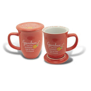 Grandma Coral Floral Mug & Coaster Set - Unique Catholic Gifts