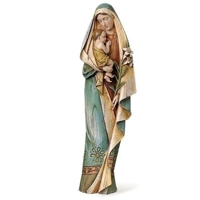 Madonna and Child with Lily Statue 12 1/2