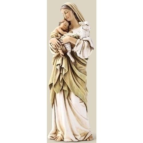 Madonna and Child and Lamb statue figurine 6.25 inches - Unique Catholic Gifts