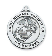 "Sterling Silver Saint St Michael & US Marines Medal (7/8"") - Unique Catholic Gifts"
