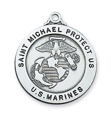Sterling Silver Saint St Michael & US Marines Medal (7/8
