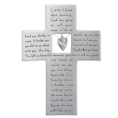 Memorial Cross with Heart Charm 7 1/4