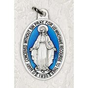 "Miraculous Medal Double Silver Tone With Blue Enamel 1 1/2"" - Unique Catholic Gifts"