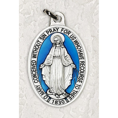 Miraculous Medal Double Silver Tone With Blue Enamel 1 1/2