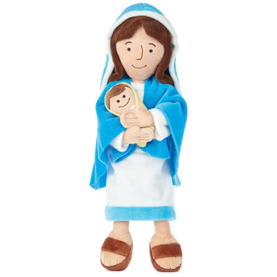 Mother Mary Holding Baby Jesus Stuffed Doll, 12.75