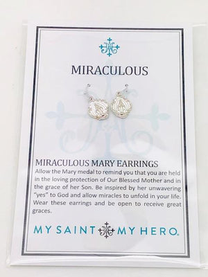 Silver Miraculous Mary Earrings