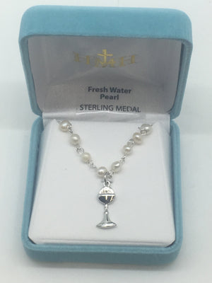 Pearl and Chalice Necklace (4mm) - Unique Catholic Gifts