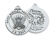Silver:US Navy & Saint Michael Medal with Chain - Unique Catholic Gifts
