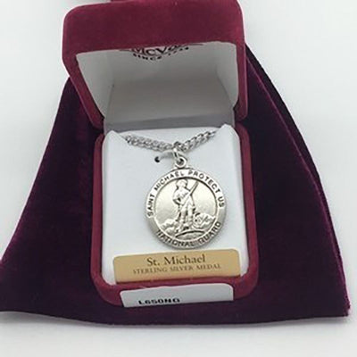 Sterling Silver St. Michael,National Guard Medal
