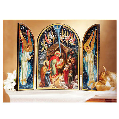 Nativity of Christ Icon Russian Orthodox Catholic Triptych ( 7 1/2