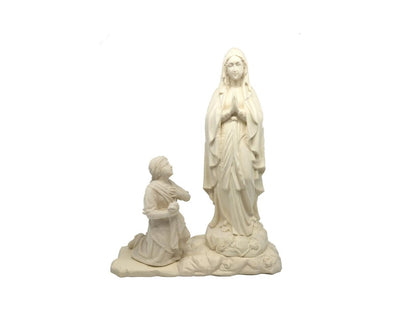Our Lady of Lourdes with St. Bernadette Hand Carved Natural Wood Statue 5 1/2