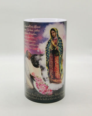 Large Lady of Guadalupe LED Candle with Timer 4 X 7