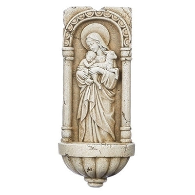 Our Lady of Innocence Cement Finish Holy Water Font (10 1/4
