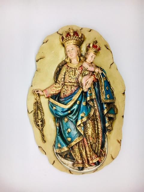 "Our Lady of the Rosary Wall Plaque (11"" x 6"")"