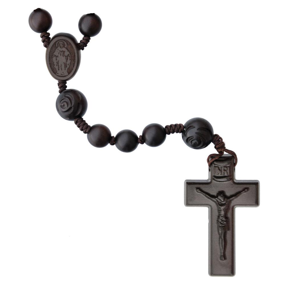 Rose Carved Jujube Wood Rosary (10mm) - Unique Catholic Gifts