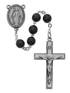 Sterling Silver Miraculous Medal Rosary with Black Wood Beads(7mm)