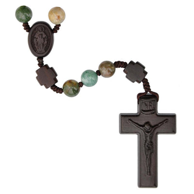 Multicolor Onyx/Jujube Wood Rosary (8mm) - Unique Catholic Gifts
