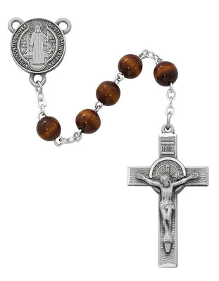 Pewter St. Benedict Rosary with Brown Wood Beads(7mm) - Unique Catholic Gifts