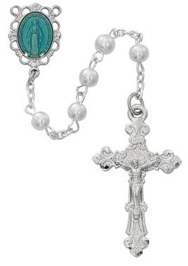 Pearl Rosary (5 mm) with Rhodium and Blue Enamel Miraculous Medal Center - Unique Catholic Gifts