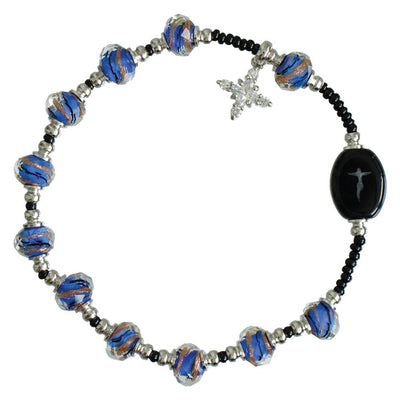 Blue Murano Glass Rosary Bracelet (8MM) - Unique Catholic Gifts