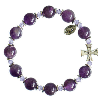 Genuine Amethyst Rosary Bracelet (10mm)