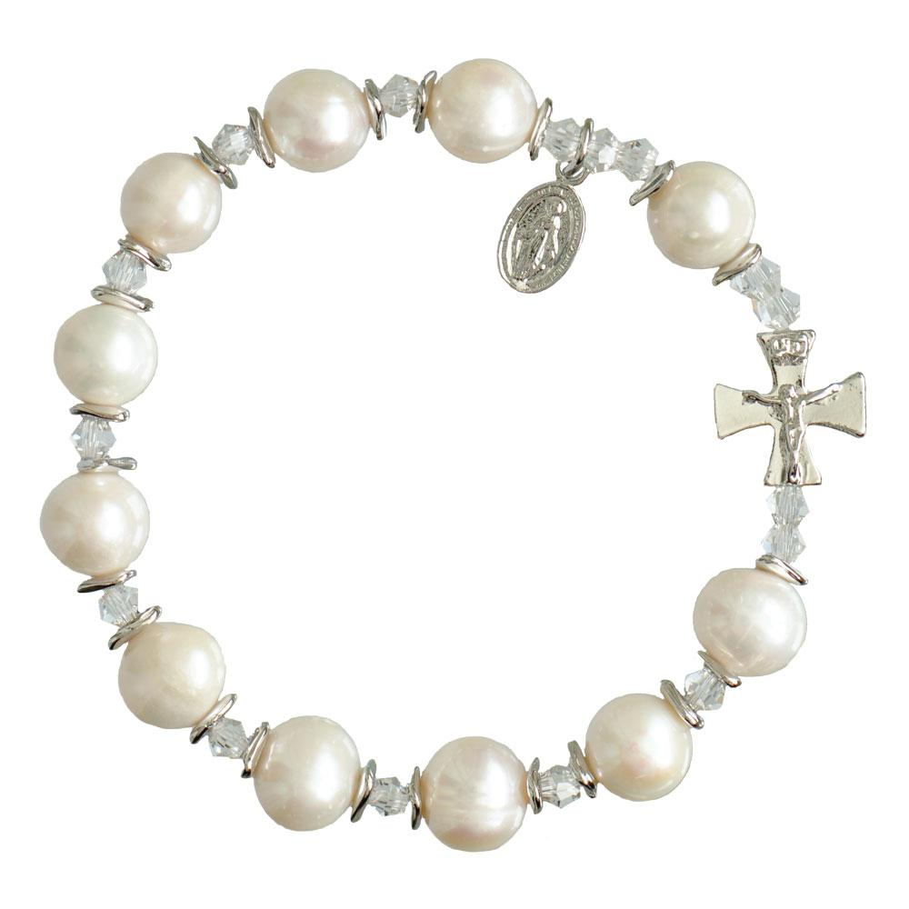 Genuine Pearl Rosary Bracelet (10mm) - Unique Catholic Gifts