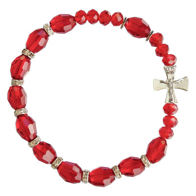 Red Genuine Crystal Rosary Bracelet (10mm) - Unique Catholic Gifts