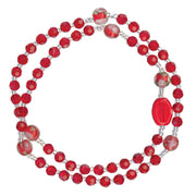Red Genuine Crystal Twist Rosary Bracelet (4mm) - Unique Catholic Gifts