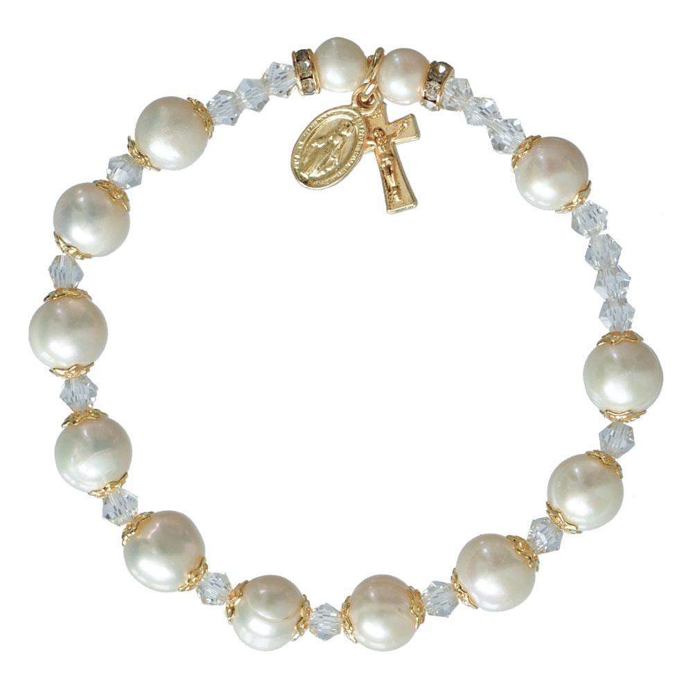 Genuine Pearl Rosary Bracelet (8mm) - Unique Catholic Gifts