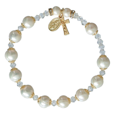 Genuine Pearl Rosary Bracelet (8mm)