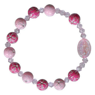 Pink Flower Acrylic Children's Rosary Bracelet (8mm)