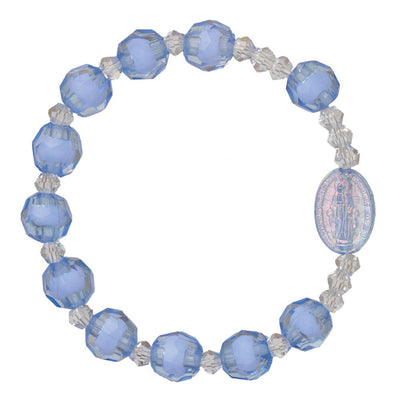 Blue Acrylic Children's Rosary Bracelet (8mm) - Unique Catholic Gifts