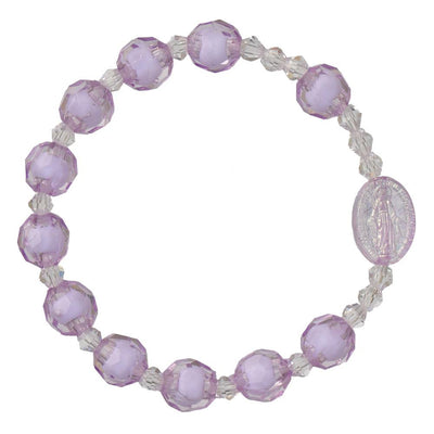 Purple Acrylic Children's Rosary Bracelet (8mm) - Unique Catholic Gifts