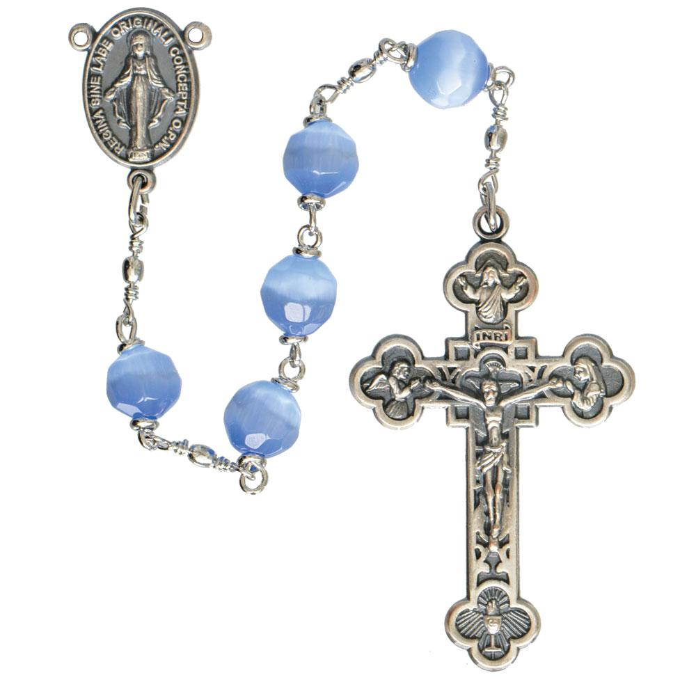 Blue Cats Eye Rosary (8mm)