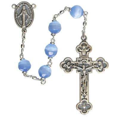 Blue Cats Eye Rosary (8mm) - Unique Catholic Gifts